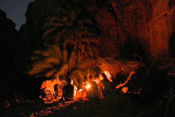 Ночной лагерь в каньоне Иордании