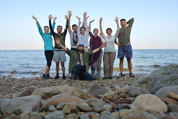 Наша группа на берегу Мертвого моря, Иордания