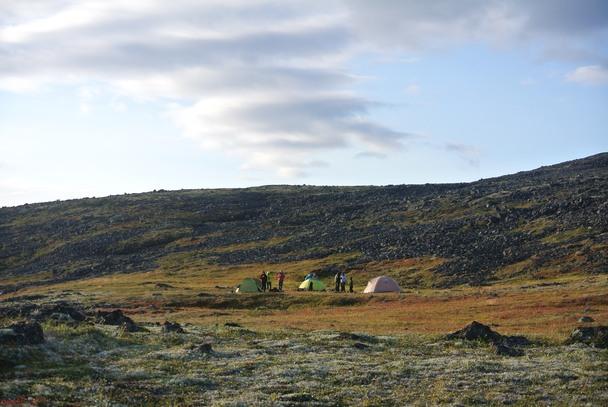 Лагерь на плато в третий день похода